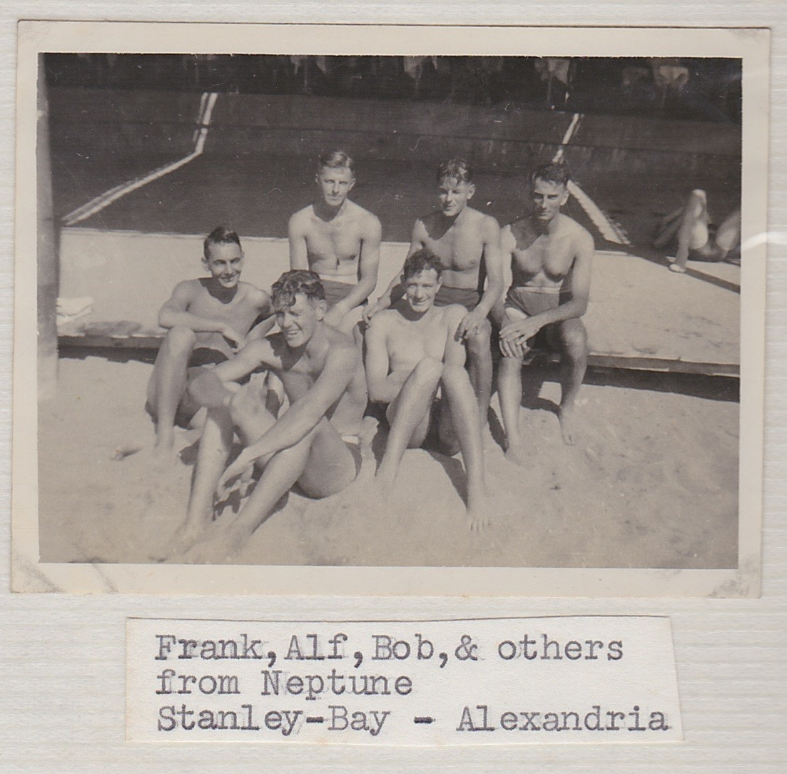 Alf Simpson, Bob MacDonald and others from HMS Neptune during shore leave in Stanley Bay, Alexandria