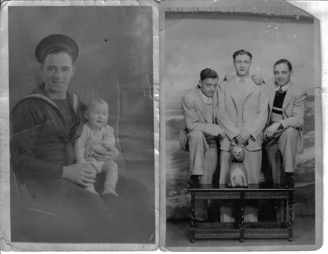 HORACE JACK BROUGHTON with my brother and dads two brothers also sailors on leave in Blackpool.