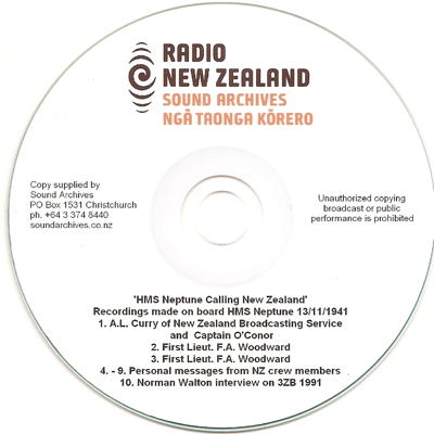 Radio New Zealand Sound Archives DVD - HMS Neptune Calling New Zealand