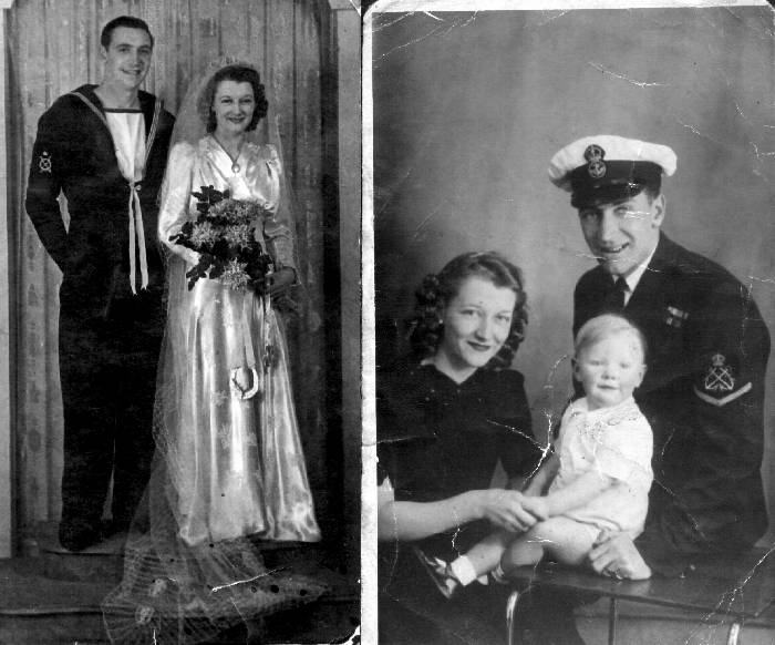 The wedding of Norman Walton and Irene Dodds (left) plus a later photo of his young family
